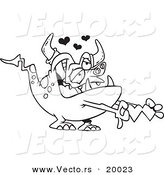 Vector of a Cartoon Romantic Monster Holding Paper Hearts - Outlined Coloring Page by Toonaday