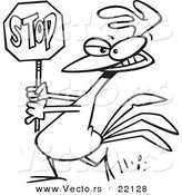 Vector of a Cartoon Rooster Carrying a Stop Sign - Outlined Coloring Page by Toonaday