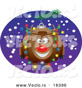 Vector of a Cartoon Rudolph Bauble - Outlined Coloring Page by Toonaday
