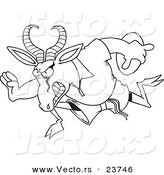 Vector of a Cartoon Rugby Antelope Springbok - Coloring Page Outline by Toonaday