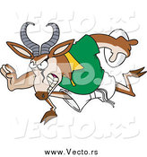Vector of a Cartoon Rugby Antelope Springbok Running by Toonaday