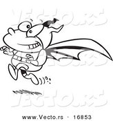 Vector of a Cartoon Running Bat Boy - Coloring Page Outline by Toonaday