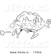 Vector of a Cartoon Running Brain - Coloring Page Outline by Toonaday