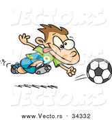 September 3rd, 2015: Vector of a Cartoon Running Caucasian Soccer Boy by Ron Leishman