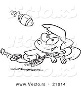 Vector of a Cartoon Running Girl Catching a Football - Outlined Coloring Page by Toonaday