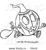 Vector of a Cartoon Running Halloween Pumpkin - Coloring Page Outline by Toonaday