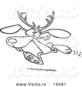 Vector of a Cartoon Running Jackalope - Coloring Page Outline by Toonaday
