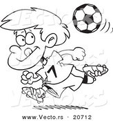 Vector of a Cartoon Running Soccer Boy - Coloring Page Outline by Toonaday