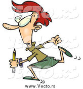 Vector of a Cartoon Rushed Red Haired Woman Running with a Pencil by Ron Leishman