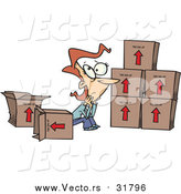 Vector of a Cartoon Sad Caucasian Woman Sitting by Moving Boxes by Ron Leishman