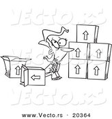 Vector of a Cartoon Sad Woman Sitting by Moving Boxes - Coloring Page Outline by Toonaday