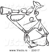 Vector of a Cartoon Sailor Using a Telescope - Coloring Page Outline by Toonaday