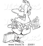 Vector of a Cartoon Salesman Holding a Contract - Coloring Page Outline by Toonaday