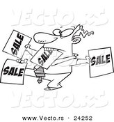 Vector of a Cartoon Salesman Holding up Many Signs - Outlined Coloring Page by Toonaday