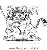 Vector of a Cartoon Samurai Tiger with a Sword - Outlined Coloring Page by Toonaday