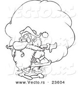 Vector of a Cartoon Santa Carrying a Heavy Sack - Coloring Page Outline by Toonaday