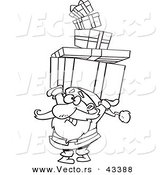 Vector of a Cartoon Santa Carrying a Stack of Christmas Presents over His Head - Coloring Page Outline by Toonaday