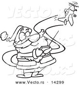 Vector of a Cartoon Santa Flying a Remote Control Plane - Coloring Page Outline by Toonaday