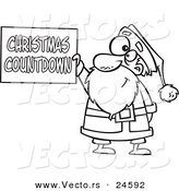 Vector of a Cartoon Santa Holding a Christmas Countdown Sign - Outlined Coloring Page by Toonaday