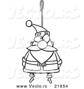 Vector of a Cartoon Santa Ornament - Outlined Coloring Page by Toonaday