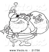 Vector of a Cartoon Santa Pirate - Outlined Coloring Page by Toonaday
