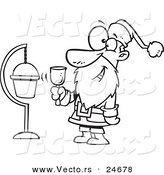 Vector of a Cartoon Santa Ringing a Bell by a Donation Cup - Outlined Coloring Page by Toonaday
