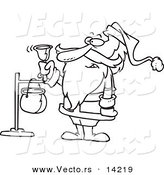 Vector of a Cartoon Santa Ringing a Charity Bell - Coloring Page Outline by Toonaday