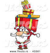 Vector of a Cartoon Santa Struggling to Carry a Stack of Christmas Presents over His Head by Toonaday