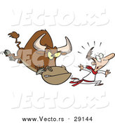 Vector of a Cartoon Scared White Man Running from a Bull by Toonaday