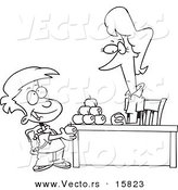 Vector of a Cartoon School Boy Adding to the Pyramid of Apples on His Teacher's Desk - Outlined Coloring Page Drawing by Toonaday