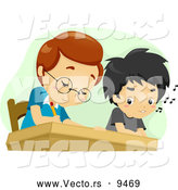 Vector of a Cartoon School Boy Cheating on a Test by Looking at His Friends Answers by BNP Design Studio