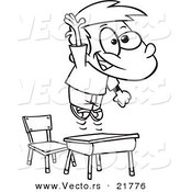 Vector of a Cartoon School Boy Jumping over His Desk - Outlined Coloring Page by Toonaday