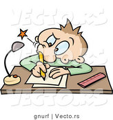 Vector of a Cartoon School Boy Poking His Nostril with a Pencil While Writing at a Desk by Gnurf