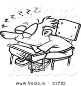 Vector of a Cartoon School Boy Sleeping on His Desk - Outlined Coloring Page by Toonaday