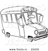 Vector of a Cartoon School Bus Driver - Coloring Page Outline by Toonaday