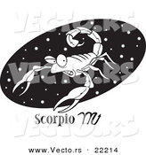 Vector of a Cartoon Scorpio Scorpion over a Black Oval - Outlined Coloring Page by Toonaday