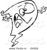 Vector of a Cartoon Screaming Ghost - Outlined Coloring Page by Toonaday