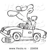 Vector of a Cartoon Senior Man Running over a Stop Sign - Coloring Page Outline by Ron Leishman