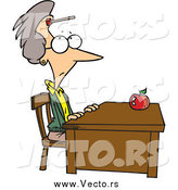 March 11th, 2015: Vector of a Cartoon Senior White Female Teacher Sitting at Her Desk with a Dart on Her Forehead by Ron Leishman