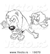 Vector of a Cartoon Sheep Attacking a Lion - Outlined Coloring Page by Toonaday