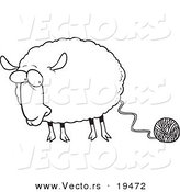 Vector of a Cartoon Sheep Connected to Yarn - Outlined Coloring Page by Toonaday