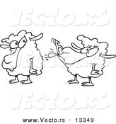 Vector of a Cartoon Sheep Sticking Its Tongue out at Another Sheep - Coloring Page Outline by Toonaday