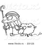 Vector of a Cartoon Shepherd and Sheep - Coloring Page Outline by Toonaday