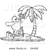 Vector of a Cartoon Shipwrecked Man on a Tropical Island - Outlined Coloring Page by Toonaday