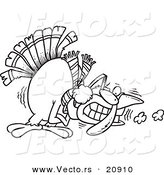 Vector of a Cartoon Shivering Cold Turkey - Coloring Page Outline by Toonaday