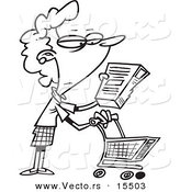 Vector of a Cartoon Shopping Woman Reading an Ingredient Label - Coloring Page Outline by Toonaday