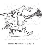 Vector of a Cartoon Short Witch - Coloring Page Outline by Toonaday