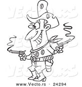 Vector of a Cartoon Shot Cowboy Black and White Outline - Outlined Coloring Page by Ron Leishman