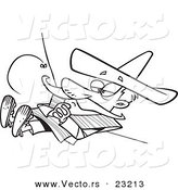 Vector of a Cartoon Siesta Guy - Coloring Page Outline by Toonaday