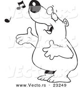 Vector of a Cartoon Singing Bear - Coloring Page Outline by Toonaday